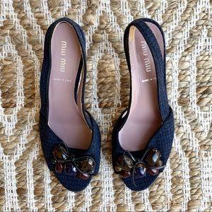 Miu Miu Tweed Houndstooth Slingback Kitten Heels